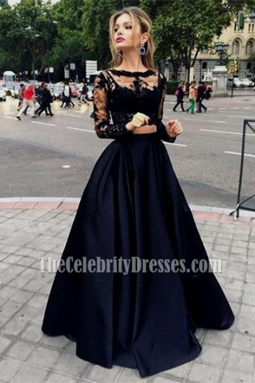 Black Two Pieces Evening Gowns Long Sleeves Satin Prom Dress 5