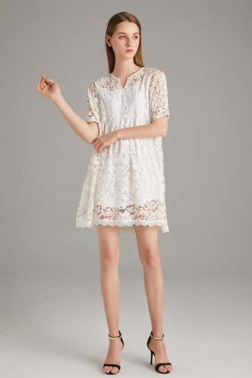 White Two Pieces Homecoming Lace Dress With 1/2 Sleeves