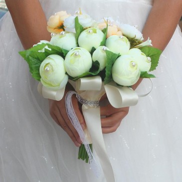 Multi-Colored Round Artificial Flower Bridal Bouquets