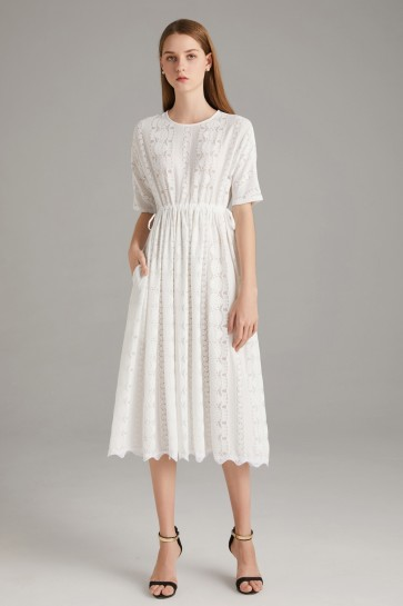 Tea-Length White A-line Scoop Homecoming Dress With 1/2 Sleeves