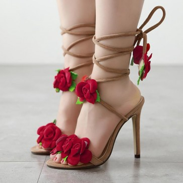 Women's Stiletto Heel Peep Toe With Lace-up shoes