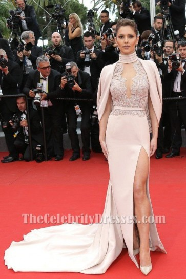 Cheryl Fernandez-Versini Luxury Thigh-high Slit Court Train Embroidered Evening Dress 2015 Cannes Film Festival