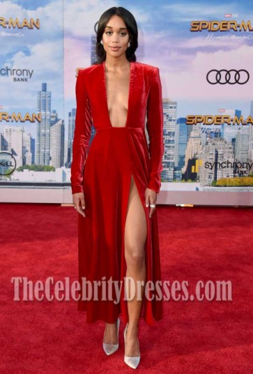 "Laura Harrier Red Low-cut High-slit Long Sleeves Dress  Premiere of Columbia Pictures' ""Spider-Man"