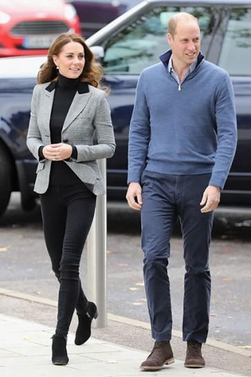 Kate Middleton Blazer Grey Coat With Long Sleeves 2019