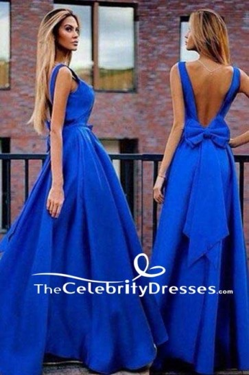 Gorgeous A-Line Royal Blue Backless Evening Prom Gown Formal Dress TCDFD7520