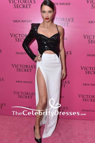 Adriana Lima White And Black Cut Out High Slit Eveing Dress 2017 Victoria's Secret fashion show after-party