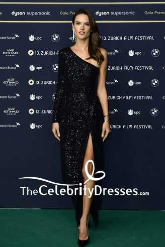 Alessandra Ambrosio Black One-shoulder Sequins Thigh-high Slit Evening Dress 13th Zurich Film Festival Red Carpet