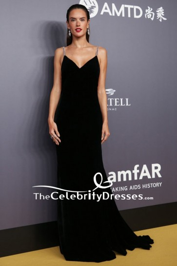 Alessandra Ambrosio Black V-neck Backless Evening Formal Dress  2018 amfAR Hong Kong Gala Red Carpet