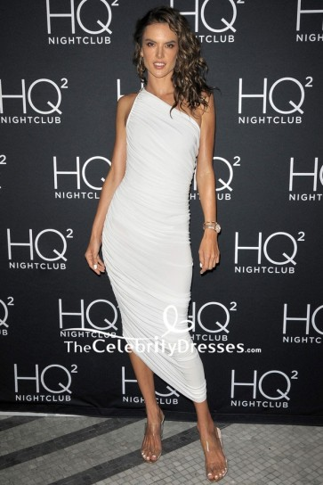 Alessandra Ambrosio White One-shoulder Ruffle Cocktail Dress HQ2 Beachclub