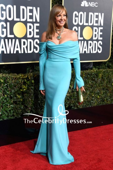 Allison Janney Off-the-shoulder Mermaid Dress With Sleeves 2019 Golden Globes