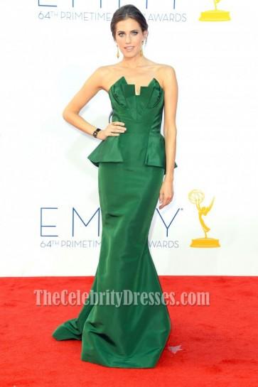 Allison Williams Green Formal Dress 2012 Emmy Awards Red Carpet