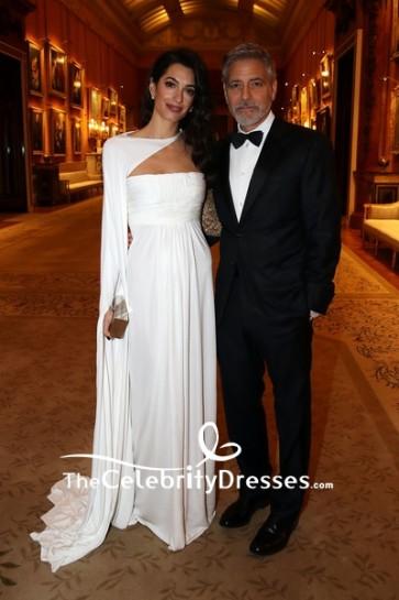 Amal Clooney White Formal Dress Prince's Trust Dinner