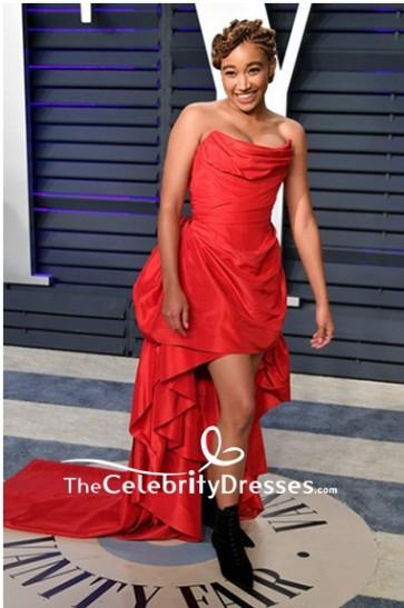 Amandla Stenberg Orange Strapless Evening Dress 2019 Vanity Fair Oscar party