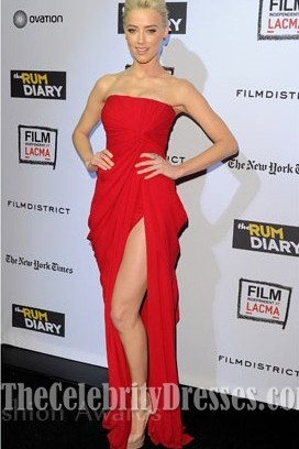Amber Heard Red Prom Evening Dress 'The Rum Diary' LA Premiere