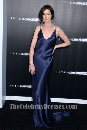 Anne Hathaway attended the LA premiere of 'Interstellar' held at TCL Chinese Theatre IMAX on Sunday (October 26) in Hollywood, California. The actress wore a dark navy gown featuring a deep V-neck and plunging V-back which define this fluid silk like sati