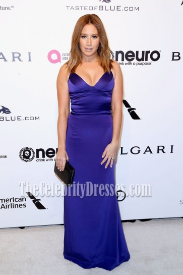 Ashley Tisdale Floor Length V neck Spaghetti Straps Prom Gown  Evening Dress
