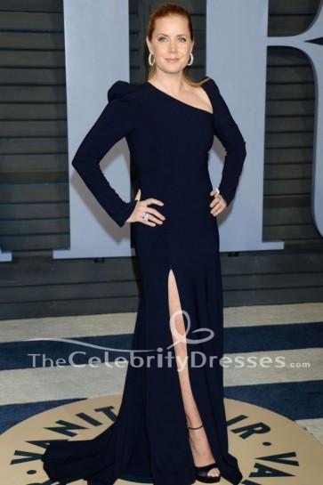 エイミーアダムス黒長袖のイブニングドレス2018バニティフェアオスカーパーティードレス