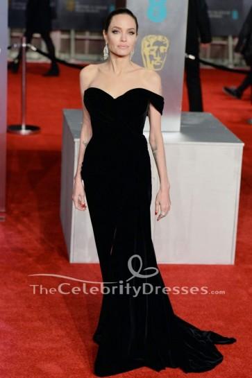 Angelina Jolie 2018 BAFTAsブラックイブニングドレスレッドカーペットセレブリティドレス