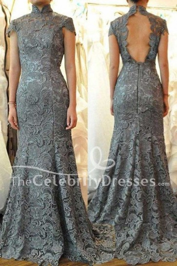 Celebrity Inspired Gray Lace Cap Sleeves Evening Gown Formal Prom Dresses TCDFD7539