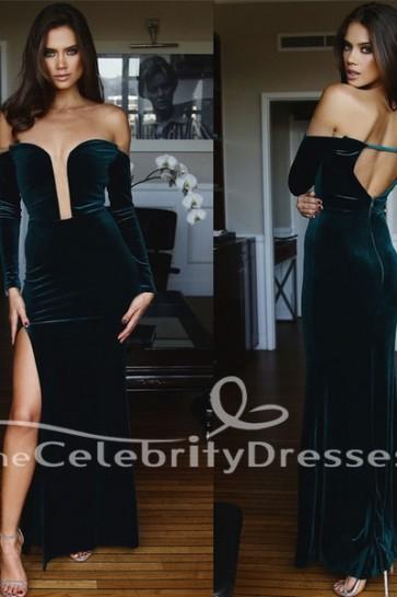 Floor Length Hunter Off Shoulder Long Sleeve Velvet Evening Dress Formal Gown TCDFD7534
