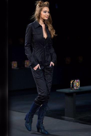 Gigi Hadid Black Long Sleeve Jumpsuit Casual Pants TCDXH8402