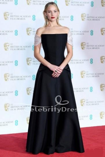 Jennifer Lawrence Black Off-the-Shoulder Evening Dress 2018 BAFTAs Red Carpet Gown