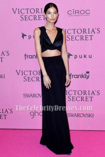 リリーオルドリッジツーピースのイブニングドレス2014ビクトリアの秘密のファッションショーアフターパーティードレス