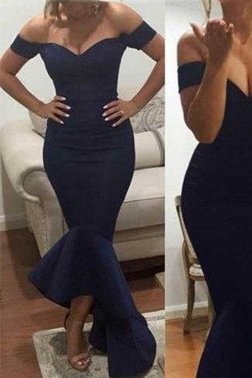 Sexy Navy Off the Shoulder Trumpet Ruffles Evening Formal Dresses TCDFD7544