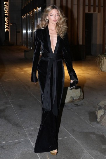 Martha Hunt Black Long Sleeve Velvet Jumpsuit Celebrity Dresses TCDXH8401