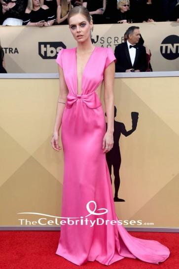 サマラウィービングピンクの背中の開いたイブニングドレス2018 SAG賞レッドカーペットドレス