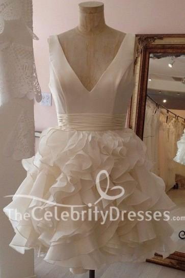 White Pretty Short Wedding Dress Homecoming Party Short Bridesmaids Dresses TCDFD7519