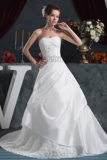 A-Line Strapless Beaded Taffeta Sweep/Brush Train Wedding Dress