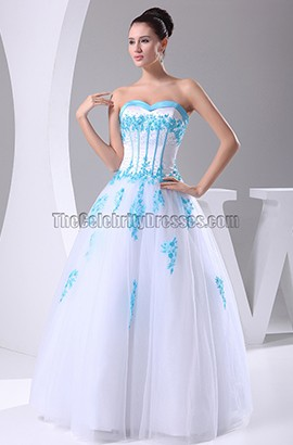 A-Line Strapless Floor Length Blue Embroidery Wedding Dress