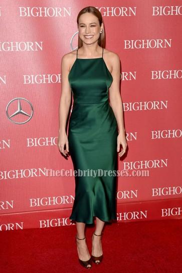 Brie Larson ブリーラーソン ダークグリーンバックレスカクテルパーティードレス