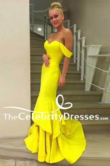 Celebrity Inspired Yellow Mermaid Off-Shoulder Formal Gown Sweetheart Prom Dress