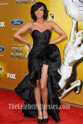 Keri Hilson Black Prom Dress 41st NAACP Image Awards Red Carpet
