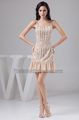Chic Champagne Short Sequined Party Homecoming Dresses