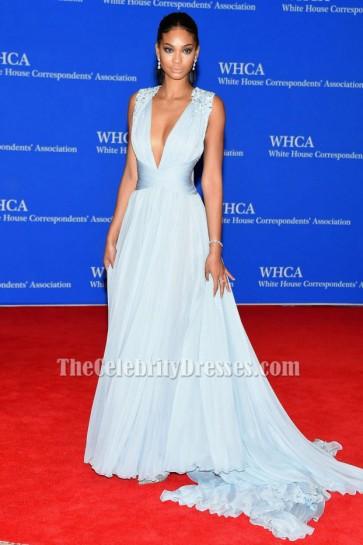 シャネルイマンライトスカイブルーのイブニングドレス2015ホワイトハウス特派員協会ディナー