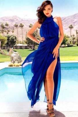 Miranda Kerr Royal Blue Chiffon Prom Formal Evening Dresses