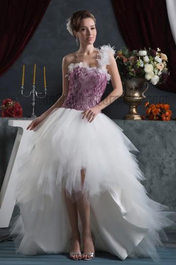 Chic High Low One Shoulder Informal Wedding Dresses
