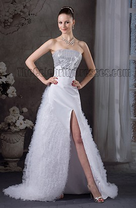 Chic Strapless Sequins Lace Up Informal Wedding Dress