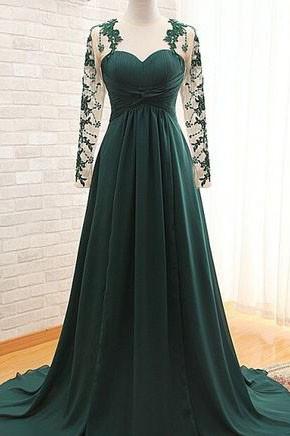 エレガントなダークグリーンの長袖のウェディングドレスのイブニングドレス