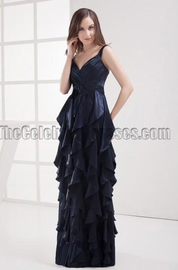 Floor Length Dark Navy Prom Gown Evening Formal Dresses