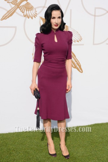 Dita Von Teese Purple Knee Length Cocktail Party Dress