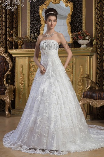 Elegant A-Line Lace Strapless Chapel Train Wedding Dresses