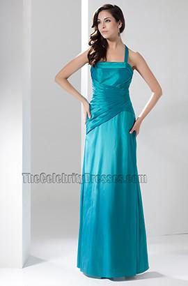 Halter Floor Length Bridesmaid Prom Gown Evening Dress