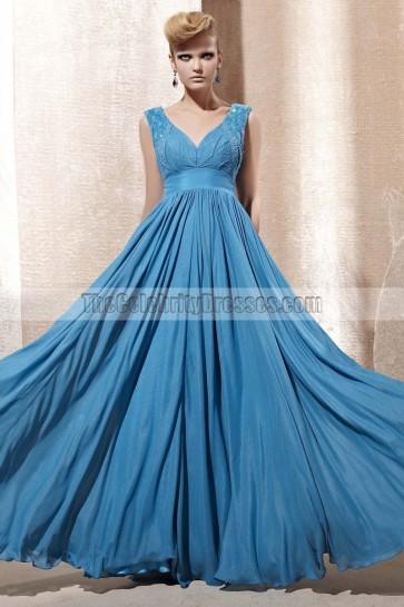 Floor Length Blue V-Neck Chiffon Prom Gown Evening Dresses