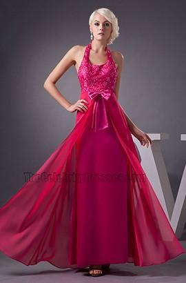Fuchsia Halter Chiffon Formal Gown Evening Prom Dresses