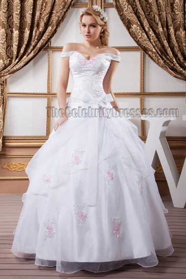 Gorgeous Ball Gown Off-the-Shoulder Embroidered Wedding Dress
