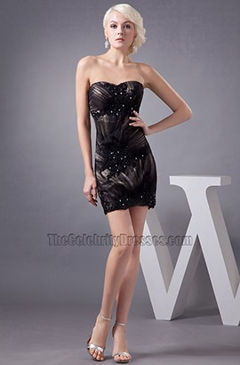 Gorgeous Strapless Black Sweetheart Party Homecoming Dress